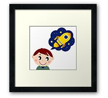 Cute boy dreaming about new Spaceship Framed Print