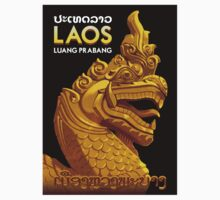 """LAOS ASIA"" Vintage Travel Advertising Print Kids Tee"
