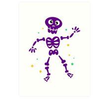 Funny Skeleton isolated on white Art Print