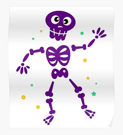 Funny Skeleton isolated on white Poster