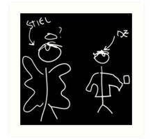 Misha Collins Destiel Doodle white black bg Art Print