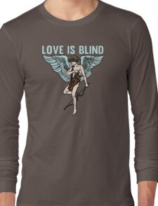 Love is Blind Cute Cool Vintage Cartoon Cupid T-shirts And Gifts Long Sleeve T-Shirt