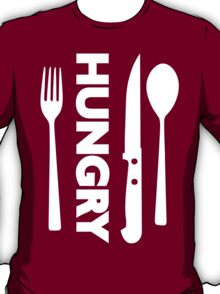 Hungry [Forks n Knives] [White] | Stay Hungry Stay Foolish Shirts T-Shirt