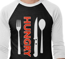 Hungry [Forks n Knives] [White 2] | Stay Hungry Stay Foolish Shirts Men's Baseball ¾ T-Shirt