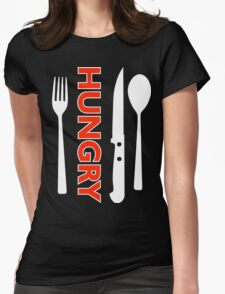Hungry [Forks n Knives] [White 2] | Stay Hungry Stay Foolish Shirts Womens Fitted T-Shirt