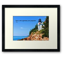 Bass Harbor Light Station Perched on a Rocky Cliff Framed Print