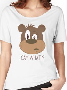 Cool Cute Cartoon Funny Bear Confused Say What T-Shirts and Gifts Women's Relaxed Fit T-Shirt