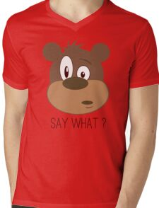 Cool Cute Cartoon Funny Bear Confused Say What T-Shirts and Gifts Mens V-Neck T-Shirt