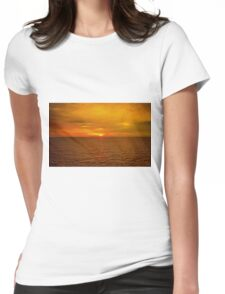 Sunset on the Caribbean Sea Womens Fitted T-Shirt