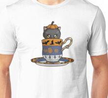 Kitten in a Tea Cup, Halloween Edition, Spoopy Black Cat Pumpkin with Bats Unisex T-Shirt