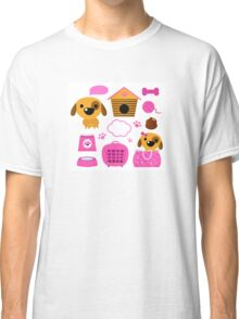 Cartoon pink set for baby dog Illustration Classic T-Shirt