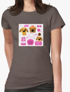 Cartoon pink set for baby dog Illustration Womens Fitted T-Shirt