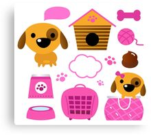 Cartoon pink set for baby dog Illustration Canvas Print