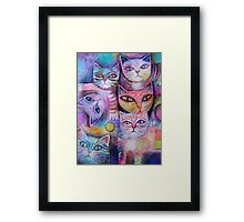 Mother cat and kittens II Framed Print
