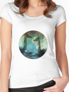 Giraffes Above Night Clouds Women's Fitted Scoop T-Shirt