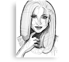 Portrait sketch lines Canvas Print