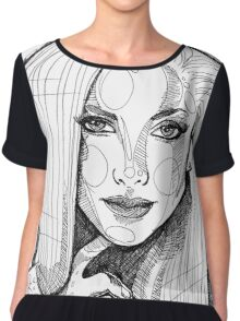 Portrait sketch lines Chiffon Top