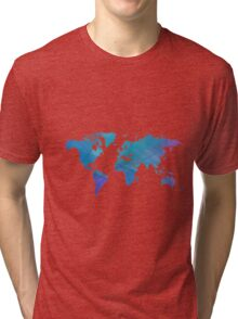 Blue world map. Tri-blend T-Shirt