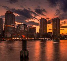 Red sun-dusk in Boston, MA  by LudaNayvelt