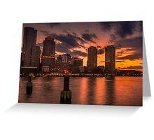 Red sun-dusk in Boston, MA  Greeting Card