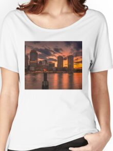 Red sun-dusk in Boston, MA  Women's Relaxed Fit T-Shirt