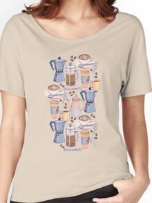Coffee Love on Blue Women's Relaxed Fit T-Shirt