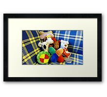 Eddie's Toys - sit on settee in Family room Framed Print