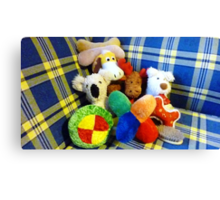Eddie's Toys - sit on settee in Family room Canvas Print