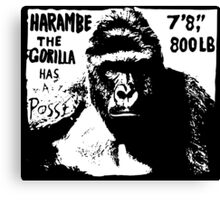 Harambe the Gorilla Has a Posse Canvas Print
