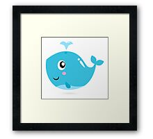Happy underwater animal cartoon illustration Framed Print