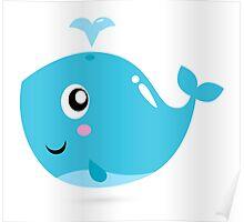 Happy underwater animal cartoon illustration Poster