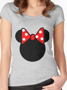 Minnie Mouse head Women's Fitted Scoop T-Shirt