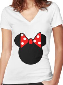Minnie Mouse head Women's Fitted V-Neck T-Shirt