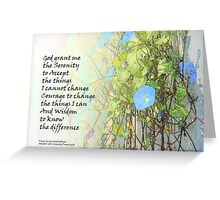 Serenity Prayer Morning Glories and Fence Greeting Card