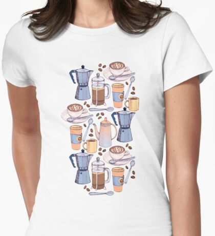 Coffee Love on Yellow Womens Fitted T-Shirt
