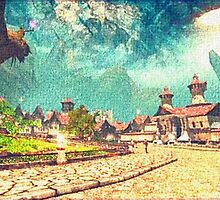 Medieval village of unknow world by foxxya