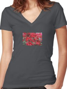 Red Bougainvilleas  Women's Fitted V-Neck T-Shirt