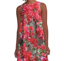 Red Bougainvilleas  A-Line Dress