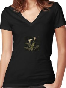 White Calla Lilies On A Black Background Women's Fitted V-Neck T-Shirt