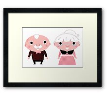 Grandmother and Grandfather.  Cartoon illustration. Framed Print