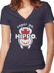 Frog?  No. Hippo. Women's Fitted V-Neck T-Shirt
