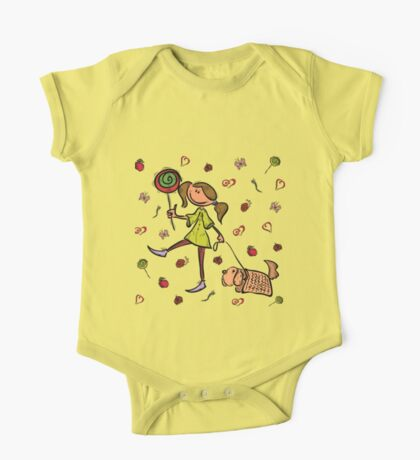 Funny girl with dog!  One Piece - Short Sleeve