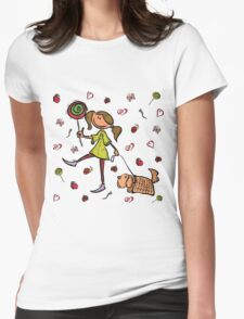 Funny girl with dog!  Womens Fitted T-Shirt