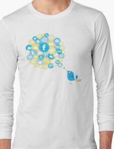 Social Media Twitter Bird Long Sleeve T-Shirt