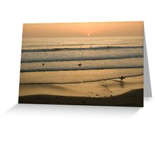 Crowded Californian Surfing Sunset - Pacific Beach, San Diego Greeting Card