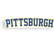 Pittsburgh Jersey Font Blue  Canvas Print