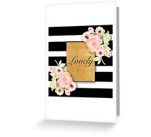 shabby chic,country chic,water color,white and black stripes,typography,lovely Greeting Card