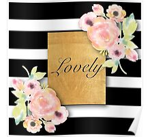 shabby chic,country chic,water color,white and black stripes,typography,lovely Poster