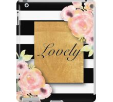 shabby chic,country chic,water color,white and black stripes,typography,lovely iPad Case/Skin