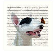 English Bull Terrier & Butterfly Art Print